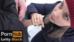 Teen gives public blowjob outdoors - Letty Black