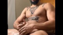 Redbone daddy jerks off his dick until he bust a huge load of cum...