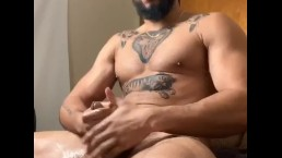 Redbone daddy beats his dick until he bust a big load..