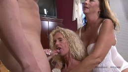 2 Hot Milfs Share a Young Dick