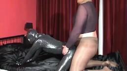 Girl In Black Zentai Spandex Outfit Fucks Guy In Pantyhose Encasement