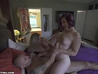 Hot milfs seduce guy into threesome jane cane