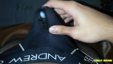 Nice cum shot inside of my black undies - Camilo Brown