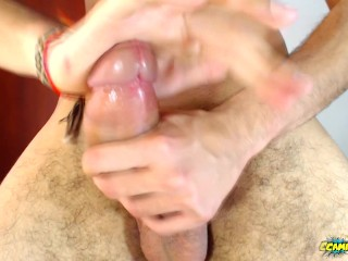 Jerking off with spit and shooting my cum in your face - Camilo Brown