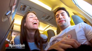 RISKY PUBLIC BLOWJOB IN AN AIRPLANE -  Amateur MySweetApple
