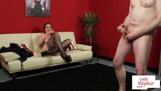 Femdom MILF instructs humiliated sub to wank