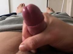 Small uncut cock morning wood jerk off close up cumshot foreskin  feet play