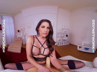 Glamour VR lingerie model Zafira rides sex toy in POV masterpiece by DDF