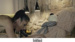 Plushies TV - tall long legs beauty sex scene with bbc teddy bear in kitche