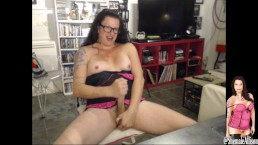 Transexual Shemale Webcam Show  Vibrating butt plug jerking off huge load