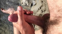 POV masturbating to orgasm outdoors with my toes in the sand at the beach