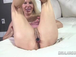Erica Lauren suctions her nipples then masturbates