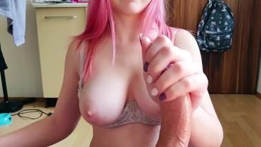 I tease you until you cum. POV handjob with big tits girlfriend