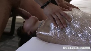 Sexy Latina Gia Milana Gets Plastic Wrapped To Suck Dick