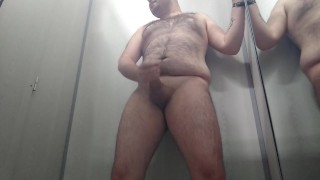 Chubby Young Cub Cums in Public Fitting Room
