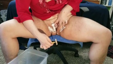 Sissy trans boy shaves his pussy and plays with himself
