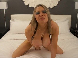 Blonde Bimbo With Huge Fake Tits Rides You POV