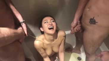 Quick Bathroom fuck and Golden Shower from 3 guys - RaeLilBlack