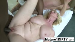 Two blonde grannies have an interracial foursome