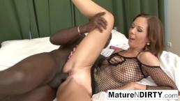 Brunette MILF masturbates before taking a BBC