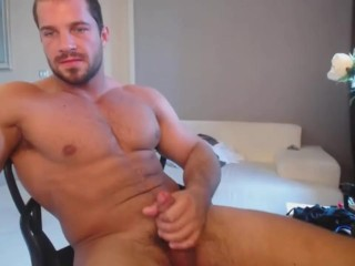 Hard Cock Stroked By Super Hot Muscular Guy Until Cum