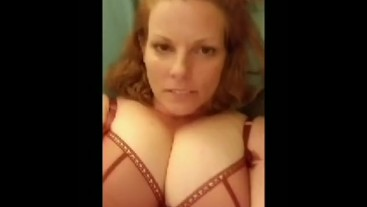 Red head milf showing off body and masturbating in red panties