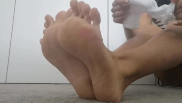 Trying Socks On
