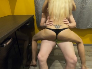 Fucked her in the kitchen, came inside her, puts pantise back on, creampie