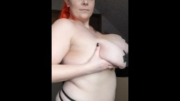 Taped up natural H cup tits