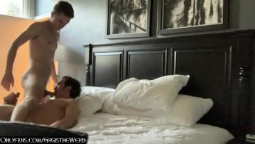 older guy swaps blow jobs with younger jock