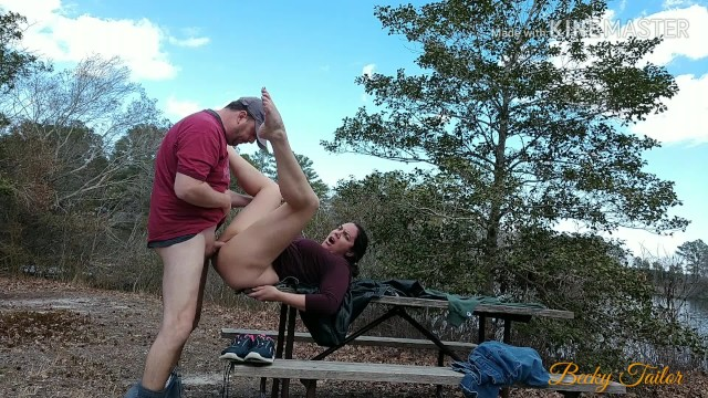 amateurs camping and fucking on a picnic table