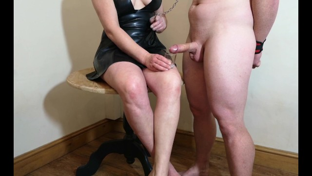 Husband injured penis Chastity release - small penis husband licks his cum from my feet
