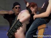Two Dorks With Dicks Give Training Session With Blowjob To Redheaded Sub