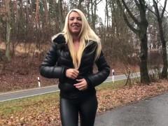 Blonde German Milf in Black Puffy Jacket and Fur Hood Sex