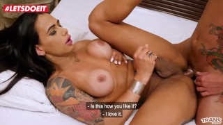 LETSDOEIT - Tattooed Tranny With a Big Cock Gets Fucked Hard