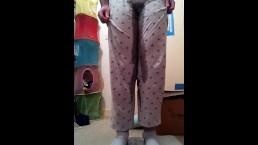 FTM Pee Dancing and Desperately Wetting Grey Pajama Pants