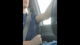 Awesome cumshot while driving to work