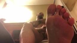 Verbal Dominant Alpha Jock Foot Worship on Toilet