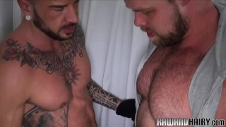 Hairy stud barebacked from behind
