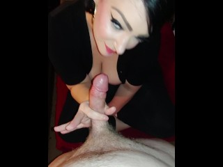 Amateur MILF teases cock and swallows cum