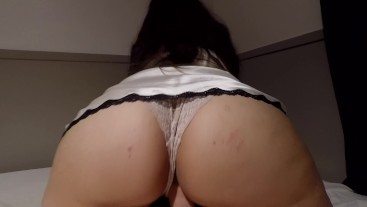 THICC ASS AMATEUR RIDES IN WHITE NIGHTIE & LACY PANTIES, GETS ASS CUMMED ON