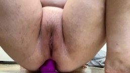Tight pussy & asshole riding dildo! Multiple dripping orgasms