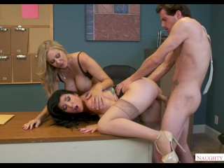 Porn Actress With Tattoo Fucking, Horny Office Babes JuliA Ann & Romi Rain Fuck the new Mailboy In 4