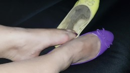 Dirty flat shoes toes licking