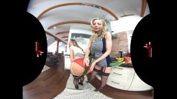 StockingsVR - Stripping lingerie & stocking blondes