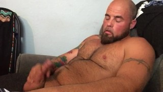 Stroking my cock to a video of me fucking my girl