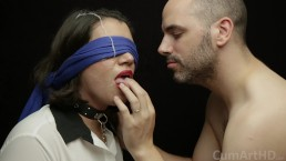 Blowjob, Blindfold, Facial! (Then sweetly caressing her cum covered face)