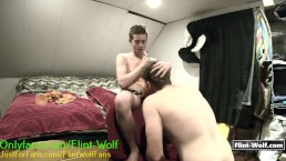 Submissive Muscle Daddy Pleases Twink Boy Wearing MASSIVE Strapon Dildo