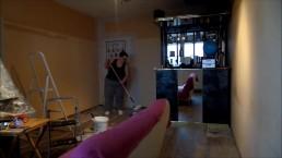 painting my livingroom, music: Golden Sunrise by Josh Woodward