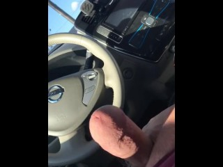 Jerking off in public in my car. Hung white cock